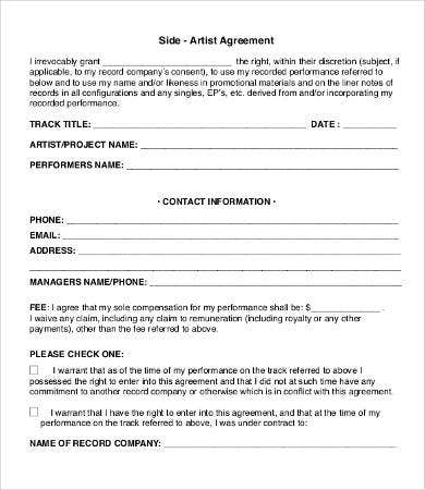 Side Artist Agreement Template
