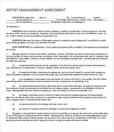Artist Management Agreement Template
