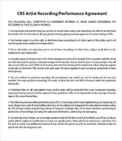 musicians contract template - artist agreement template 9 free word pdf documents