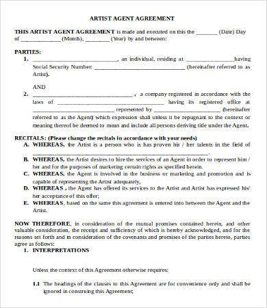 Artist Agreement Template   Free Word Pdf Documents Download