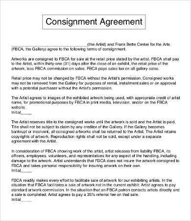 Consignment Agreement Sample Consignment Agreement Templates