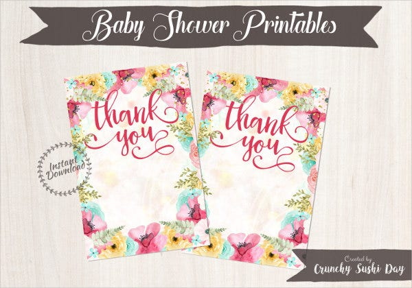 blank baby shower thank you card