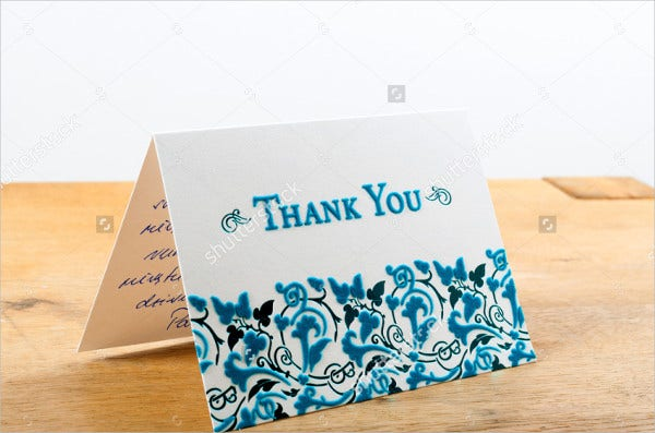 blue blank thank you card