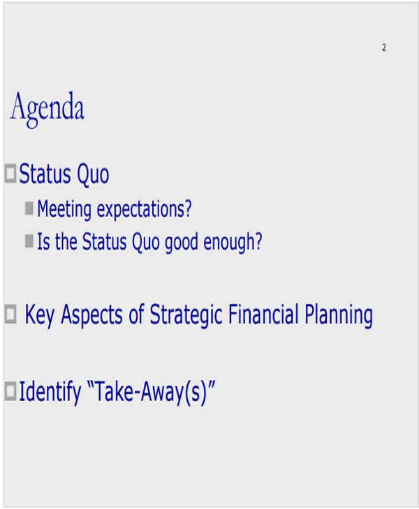 financial planning meeting agenda template