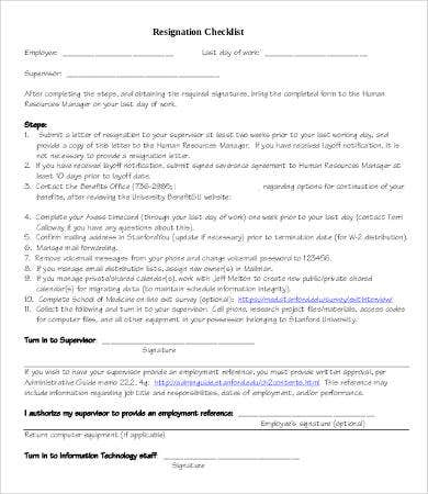 Job Resignation Checklist Template
