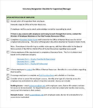 resignation checklist template 8 free word pdf documents
