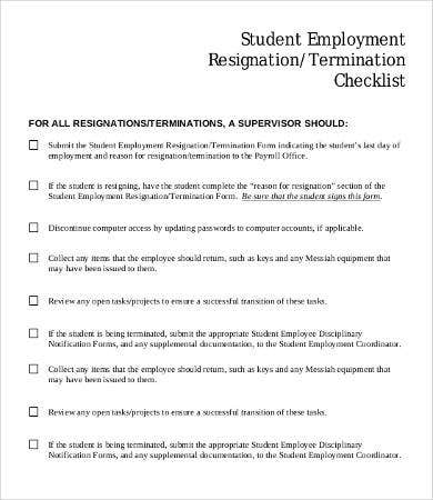 Student Employment Resignation Checklist