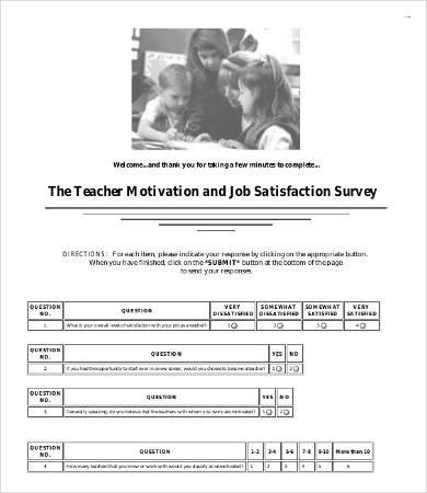 school teacher satisfaction survey template