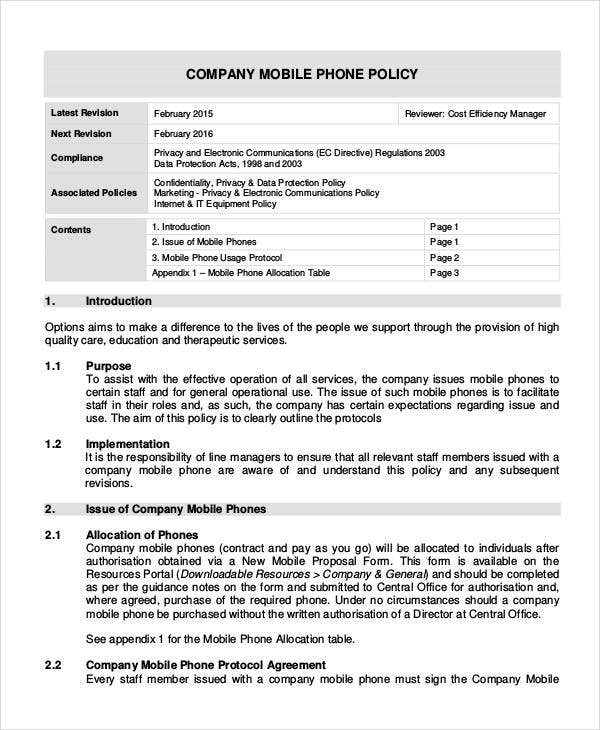 Company policy template 10 free pdf documents download for It policies templates