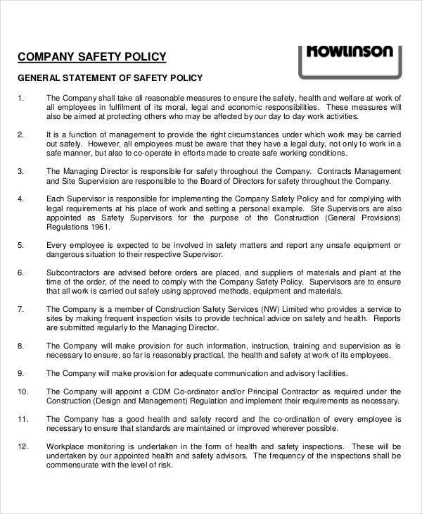Company Safety Policy Template