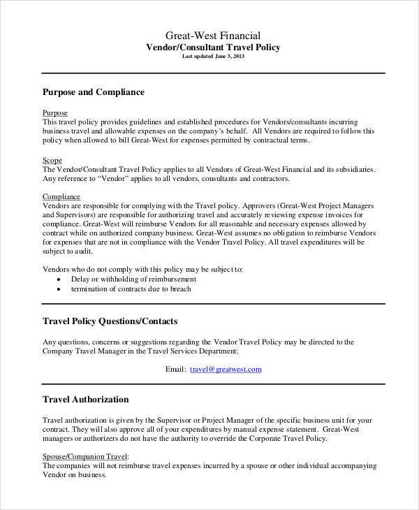 Travel Policy Template Travel Policy  Taxable Meals  Warren