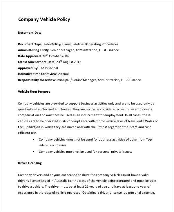 Company Policy Template   Free Pdf Documents Download  Free