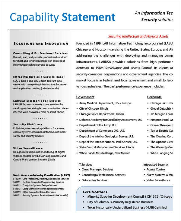 Capability Statement Templates   Free Pdf Documents Download
