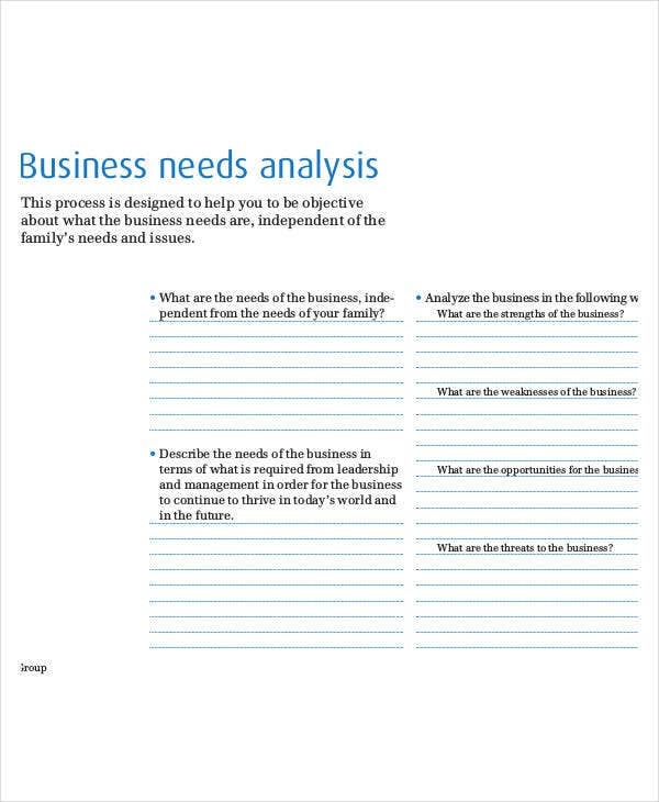 Needs Analysis Templates - 9+ Free Pdf Documents Download | Free