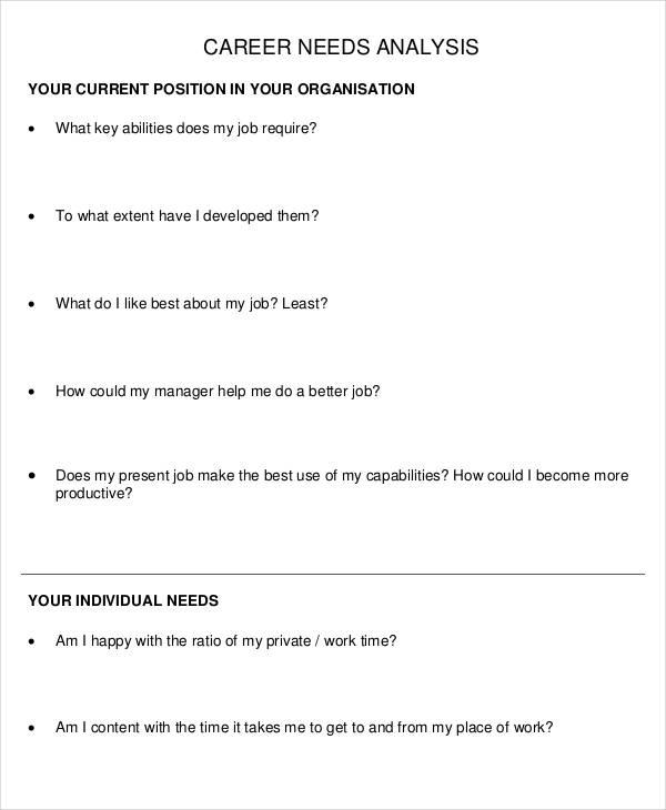 career needs analysis template