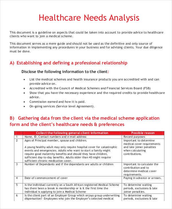Needs Analysis Templates   Free Pdf Documents Download  Free