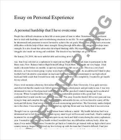 Personal experience essays for college