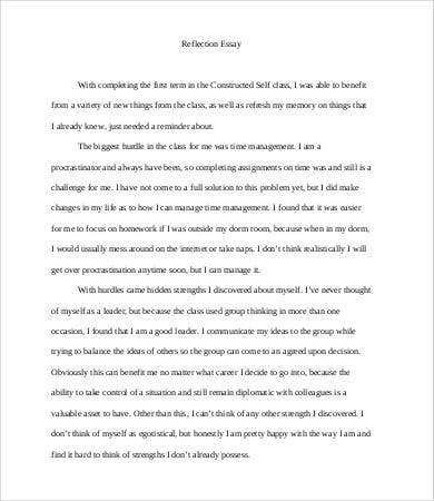 personal reflection essay sample