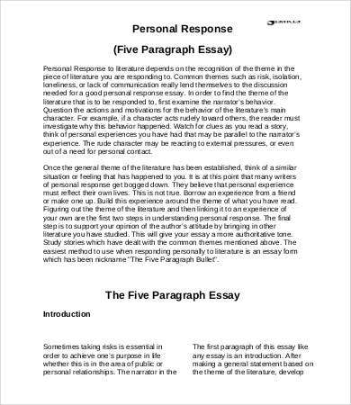 personal essay response Read this essay on personal response come browse our large digital warehouse of free sample essays get the knowledge you need in order to pass your classes and more.