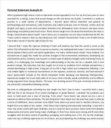 personal statement essay sample - Example Personal Essays