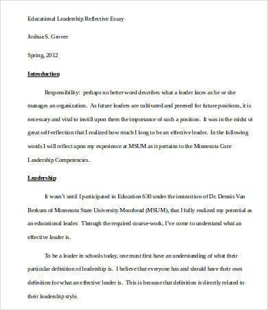 College Essay Paper Format Educational Leadership Essay Sample Thesis Essay Example also Cause And Effect Essay Papers Leadership Essay   Free Samples Examples Format Download  Free  Argumentative Essay Thesis Example