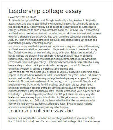 Leadership Essay   Free Samples Examples Format Download  Free  Leadership College Essay Sample