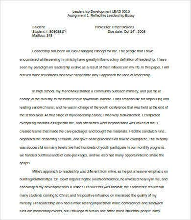 Leadership Essay   Free Samples Examples Format Download  Free  Reflective Leadership Essay Sample