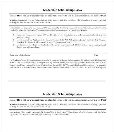 Examples of leadership essays