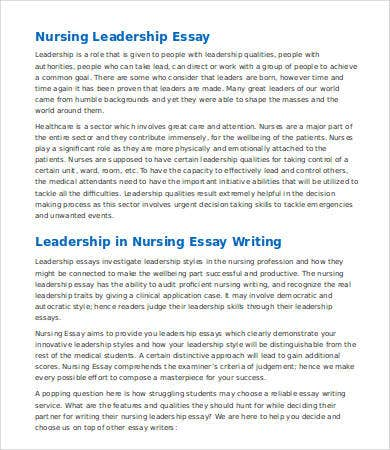 nursing leadership essay questions The focus of the interview will be on topics such as leadership style and practices, communication technique, responsibilities, vision for nursing and problems that nursing in general faces over the next 5 to 10 years.