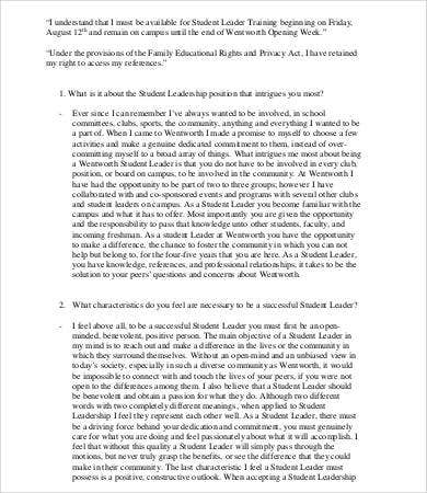 Leadership Essay   Free Samples Examples Format Download  Free  Student Leadership Essay Sample