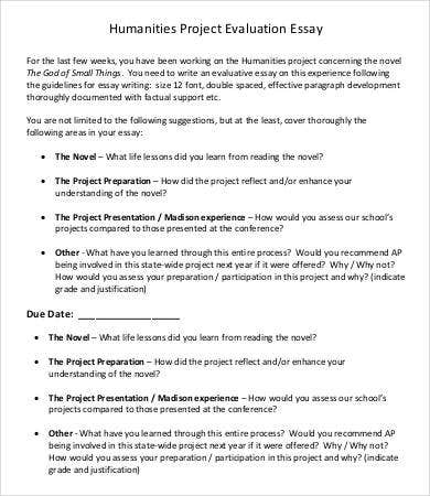 Evaluation Essay Template - 5 Free Samples, Examples, Format