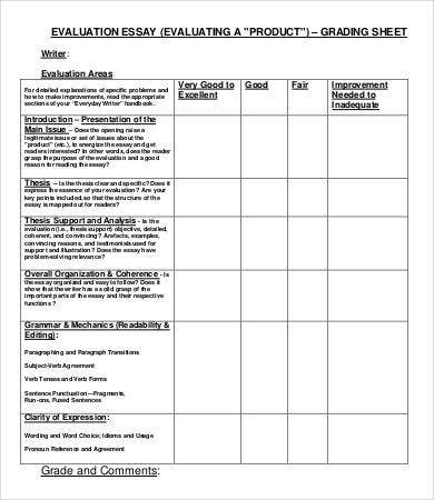 evaluation essay grading sheet
