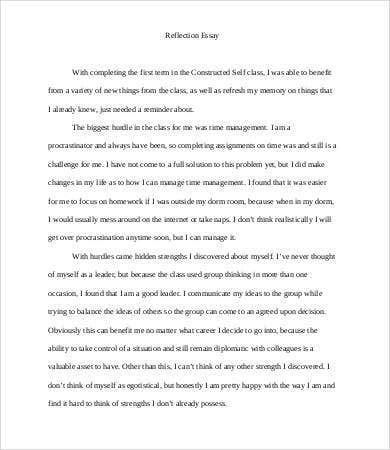 reflective essay word pdf documents  personal reflective essay template