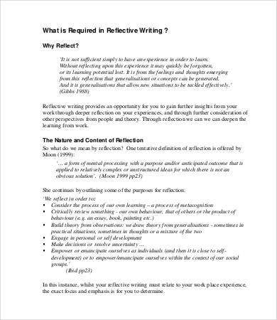reflective essay template word pdf documents  writing reflective essay template