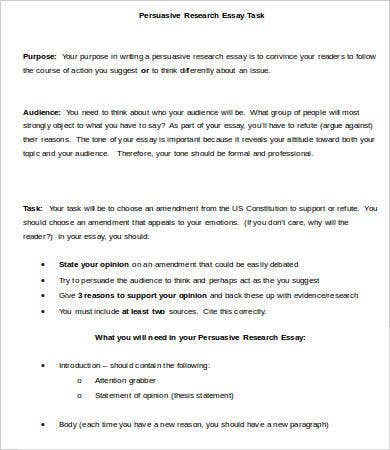 Sample Persuasive Research Essay Task