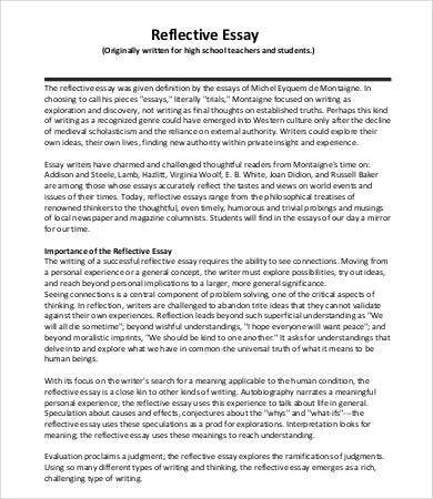reflective essay template for high school