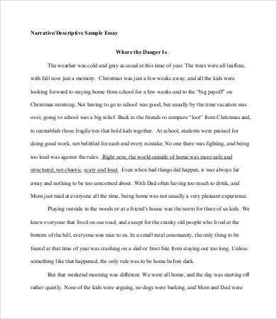 narrativedescriptive essay sample - Essay Formats