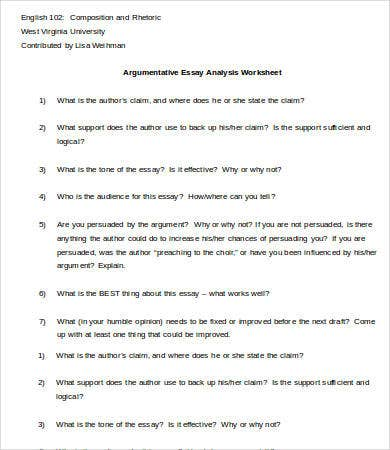 argumentative essay analysis worksheet