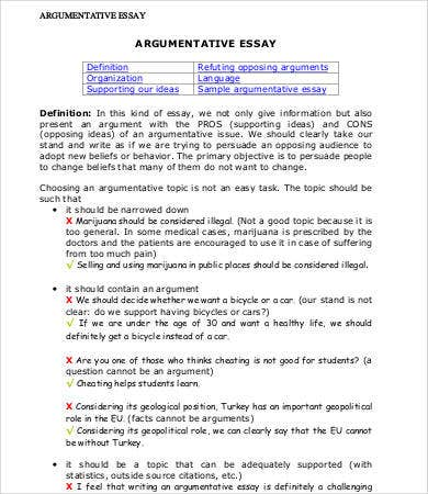 Argumentative Essays   Free Samples Examples Format Download