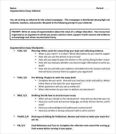 high school argumentative essay sample - Essay Draft Example