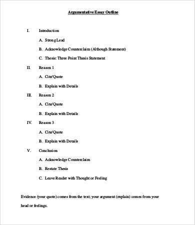 Example argumentative essay outline