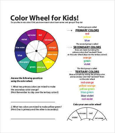 picture regarding Color Wheel Printable named Shade Wheel Charts - 6+ Absolutely free PDF Files Obtain Absolutely free