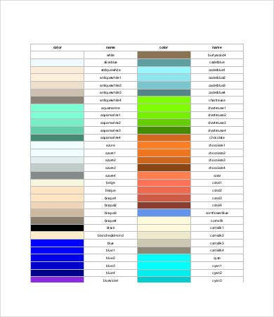 Color Wheel Names Chart Template