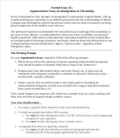 sample argumentative essay on immigration - Example Of Argumentative Essays
