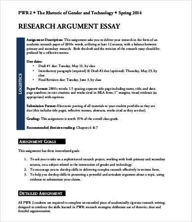 Argumentative research essay example