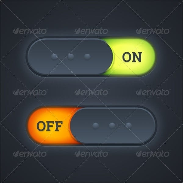 on and off toggle buttons