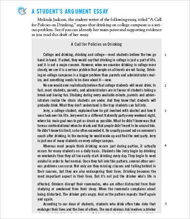 Argumentative Essays 9 Free Samples Examples Format Download