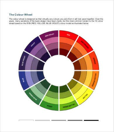 graphic regarding Color Wheel Printable identified as Colour Wheel Charts - 6+ No cost PDF Data files Down load No cost