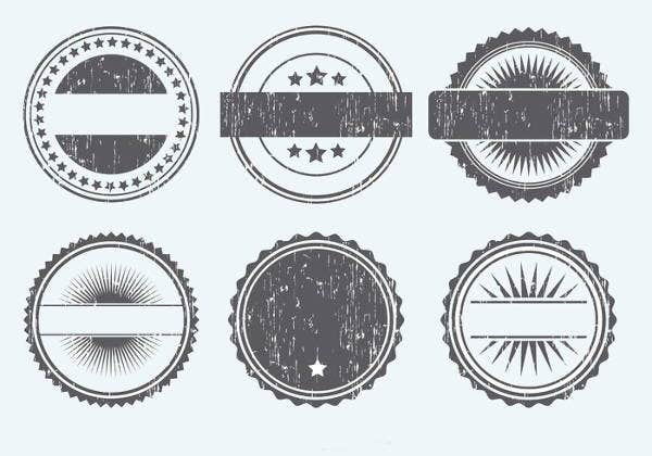 grunge rounded badge shapes