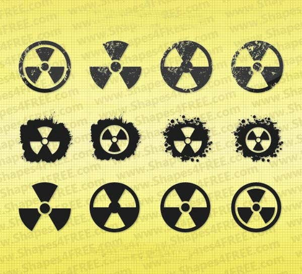 grunge radiation symbol vector shapes